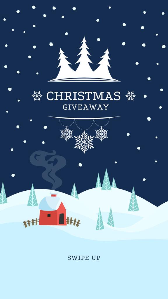 Christmas Special Offer with Snowy House Instagram Story Modelo de Design