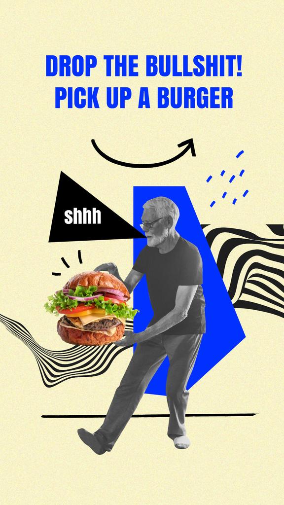 Modèle de visuel Funny Old Man holding Huge Burger - Instagram Story