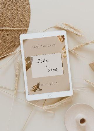 Ontwerpsjabloon van Invitation van Wedding Announcement with Wheat Ears and Straw Hat