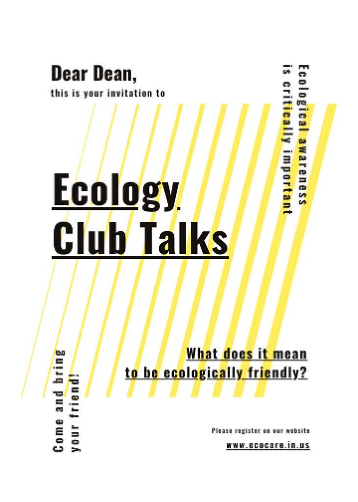 Eco Club invitation on  geometric lines Invitation Tasarım Şablonu