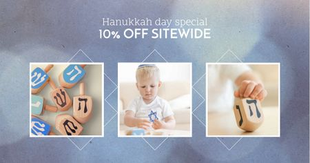 Template di design Hanukkah Offer with Kid playing Jewish Toys Facebook AD