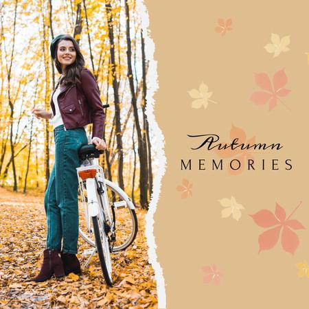 Plantilla de diseño de Autumn Inspiration with Girl in Park with Bike Instagram