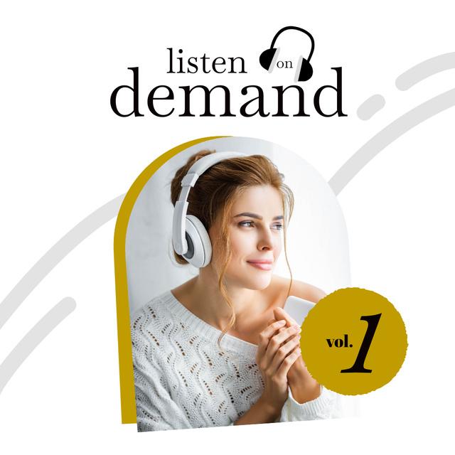 Beautiful Woman listening Music in Headphones Instagram – шаблон для дизайна