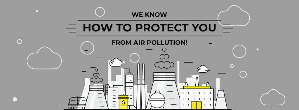 Air pollution concept with big plant — Crear un diseño