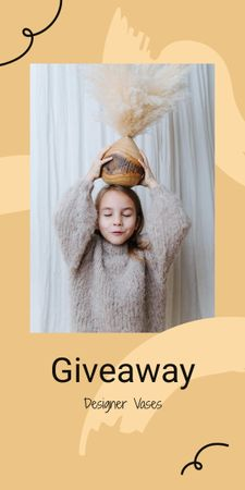 Vases Giveaway announcement with funny Girl Graphic Modelo de Design