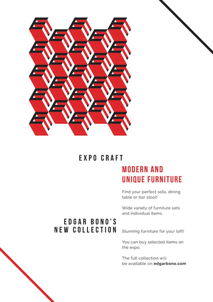 Furniture collection with geometric figures — Modelo de projeto