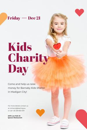 Kids Charity Day with Girl holding Heart Candy Pinterest Modelo de Design