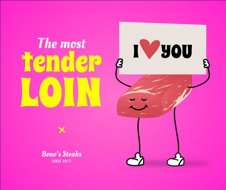 Meat Store Offer with Cute Steak Character Facebook – шаблон для дизайна