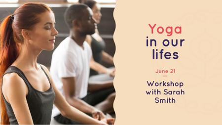 Yoga Workshop Announcement with People in Lotus Pose FB event cover – шаблон для дизайна