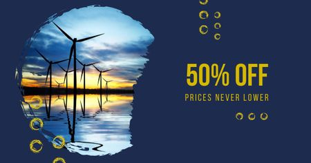 Wind turbines Farm on Sunset Facebook AD – шаблон для дизайна