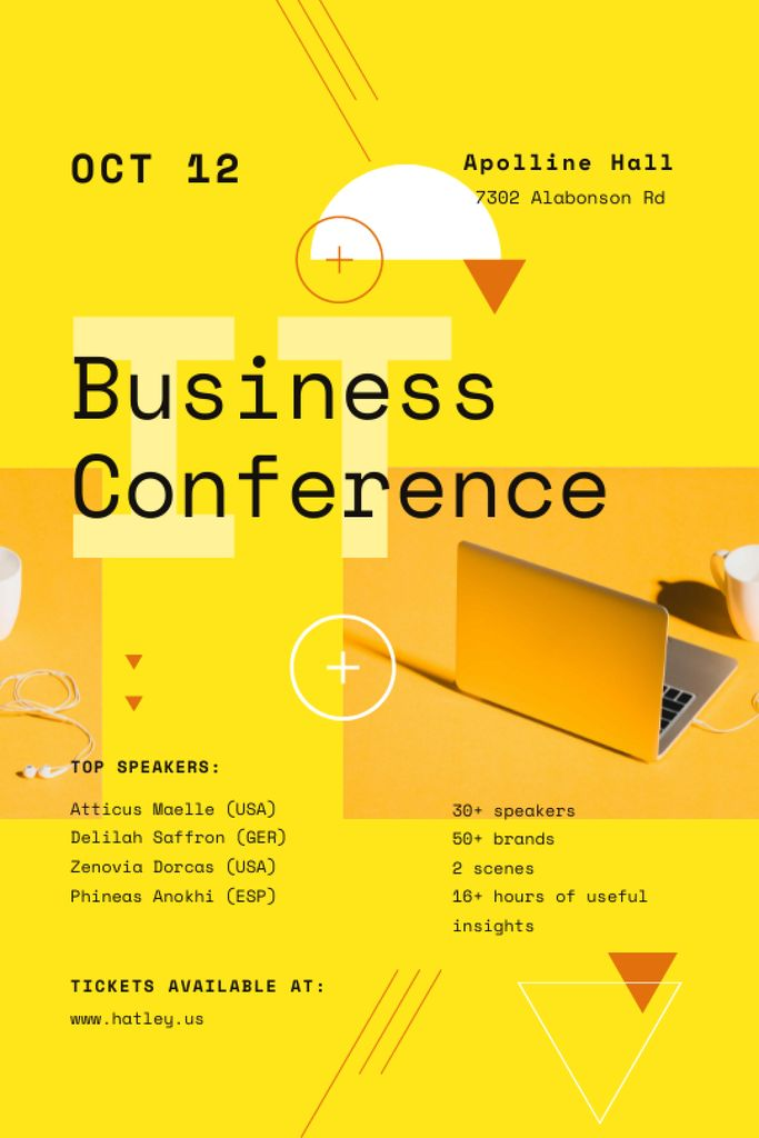 Platilla de diseño Business Conference Announcement with Laptop in Yellow Tumblr