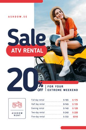 ATV Rental Services with Girl on Four-track Tumblr tervezősablon