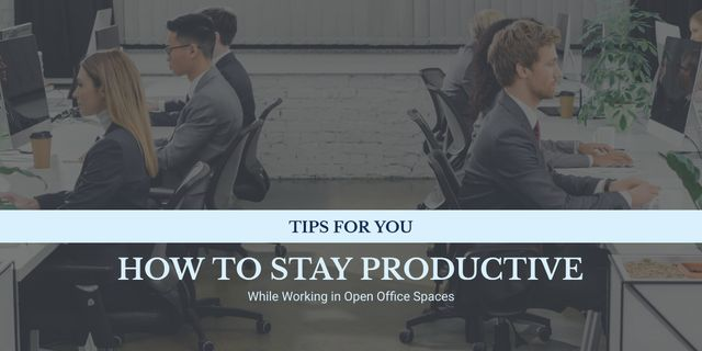 Productivity Tips Colleagues Working in Office Image Design Template