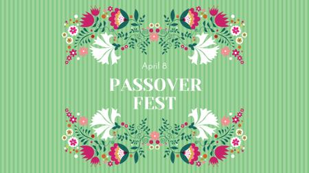 Passover Festival Announcement with Flowers Illustration FB event cover – шаблон для дизайну