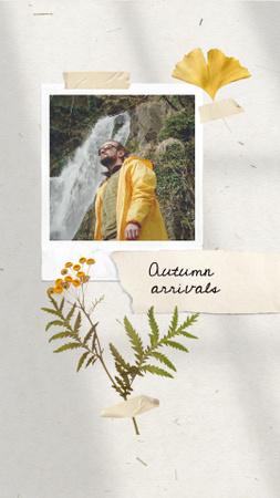 Autumn Sale Announcement with Man in Bright Raincoat Instagram Video Story Modelo de Design