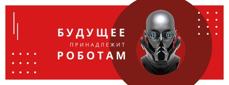 Futuristic Android robot model Facebook cover – шаблон для дизайна