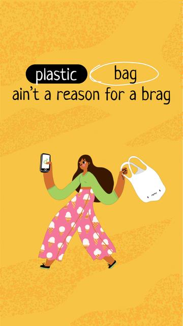 Eco Recycling Concept with Girl holding Plastic Bag Instagram Video Story – шаблон для дизайну