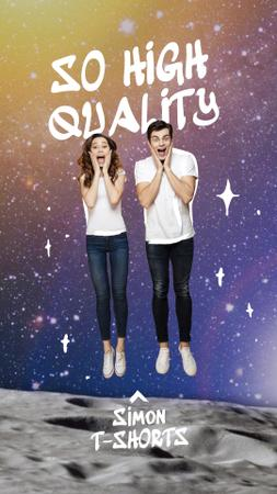 Fashion Offer with Funny Couple in Space Instagram Story Design Template