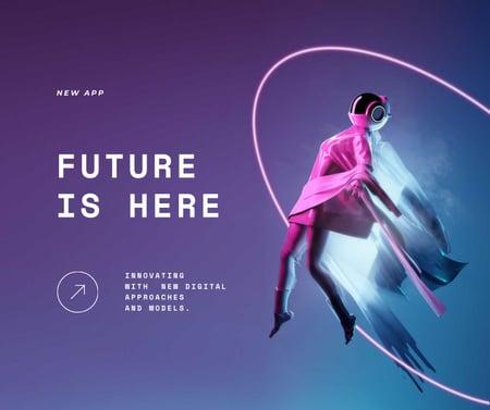 Ontwerpsjabloon van Facebook van New App Ad with Woman in Cyberspace