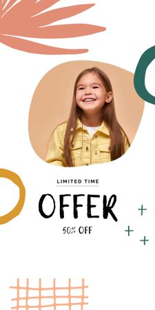 Sale announcement with Smiling Girl Graphic – шаблон для дизайна