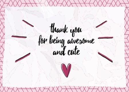 Plantilla de diseño de Love Phrase with Cute Pink Heart Card