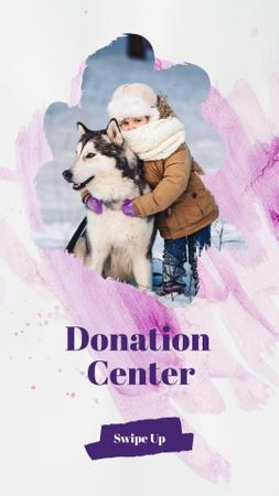 Child in Winter Clothes with Cute Dog Instagram Story Design Template