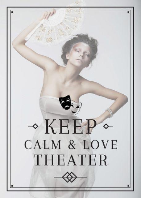 Ontwerpsjabloon van Invitation van Theater Quote Woman Performing in White