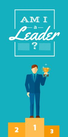 Business leadership concept Man with cup Graphic Modelo de Design