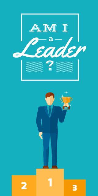 Ontwerpsjabloon van Graphic van Business leadership concept Man with cup
