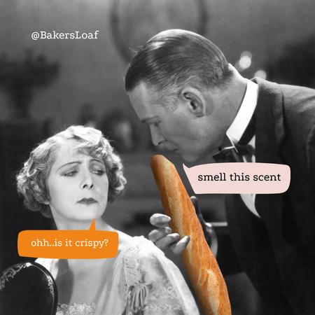 Funny Bakery Promotion with Man holding Baguette Instagram – шаблон для дизайну