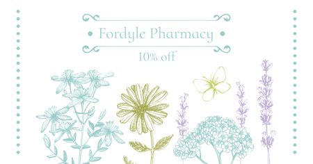 Modèle de visuel Pharmacy Ad with Natural Herbs Sketches - Facebook AD