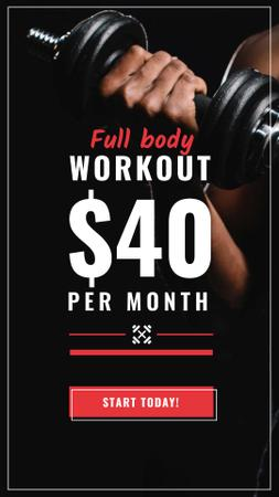 Workout Offer Man with dumbbell Instagram Story Modelo de Design