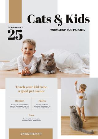 Ontwerpsjabloon van Poster van Workshop Announcement with Child Playing with Cat