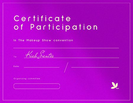 Award for participation in Makeup Show Convention Certificate – шаблон для дизайну