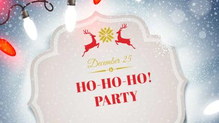 Ontwerpsjabloon van FB event cover van New Year Party Announcement with Festive Deers