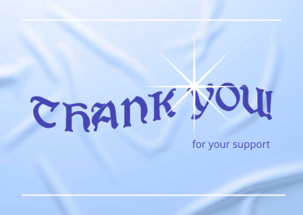 Template di design Cute Thankful Phrase on Blue Card