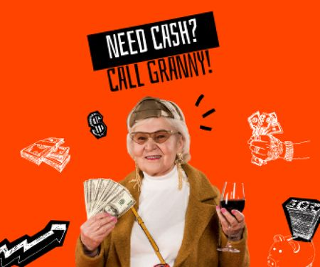 Template di design Funny Granny holding Dollars and Wine Large Rectangle