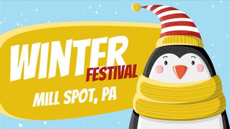 Winter Fest Cute Winter Penguin in Hat Full HD video Modelo de Design