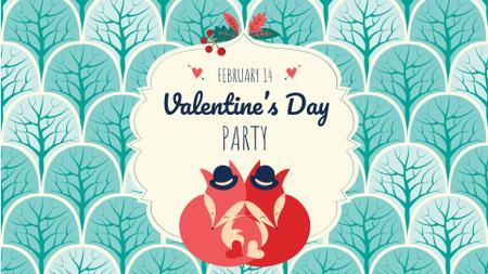 Valentine's Day Party Announcement with Cute Foxes FB event cover Modelo de Design