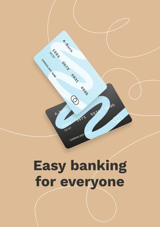 Banking Services ad with Credit Cards Poster Design Template