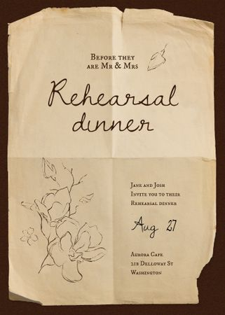 Template di design Rehearsal Dinner Announcement with Flowers Illustration Invitation
