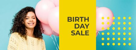 Birthday Sale Announcement with Smiling Girl Facebook cover Tasarım Şablonu