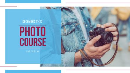 Photography Course Ad with Camera in Hands FB event cover – шаблон для дизайну