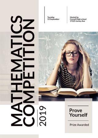 Modèle de visuel Mathematics competition announcement with Thoughtful Student - Invitation