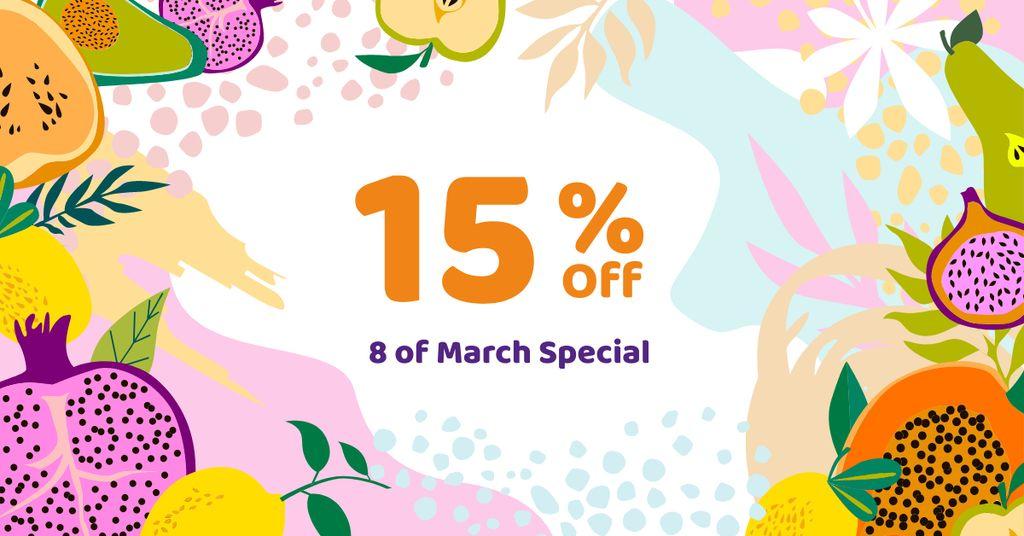 March 8 Discount Offer in Fruits Frame — Modelo de projeto