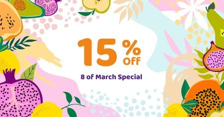 March 8 Discount Offer in Fruits Frame Facebook ADデザインテンプレート