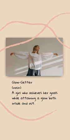 Inspirational Citation with Young Woman Graphic Modelo de Design