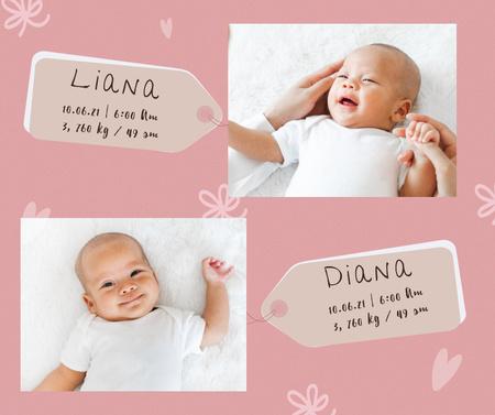 Plantilla de diseño de Cute Little Newborn Girls Facebook