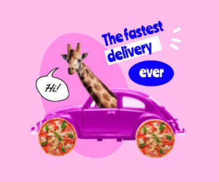 Funny Giraffe in Bright Retro Car Medium Rectangle Modelo de Design