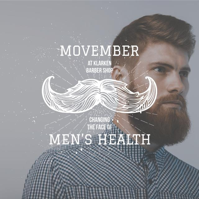 Template di design Man with mustache and beard for Movember Instagram AD